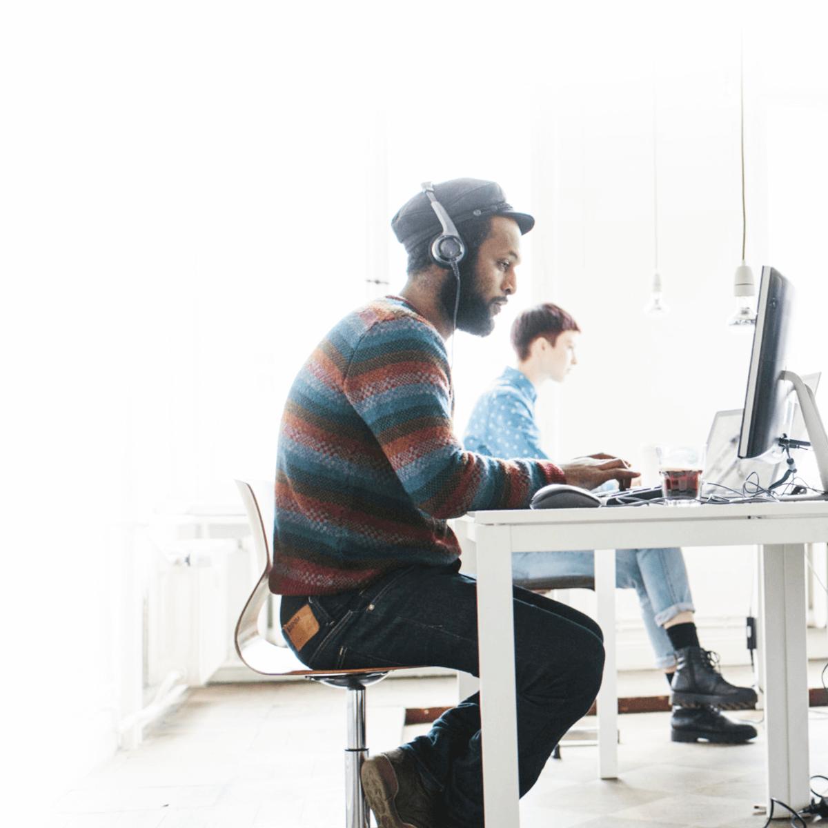 worker, desk, computer, operator